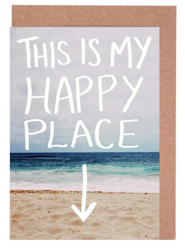 Beaches, Quotes & Slogans, Travel, Happy Place Greeting Card Set