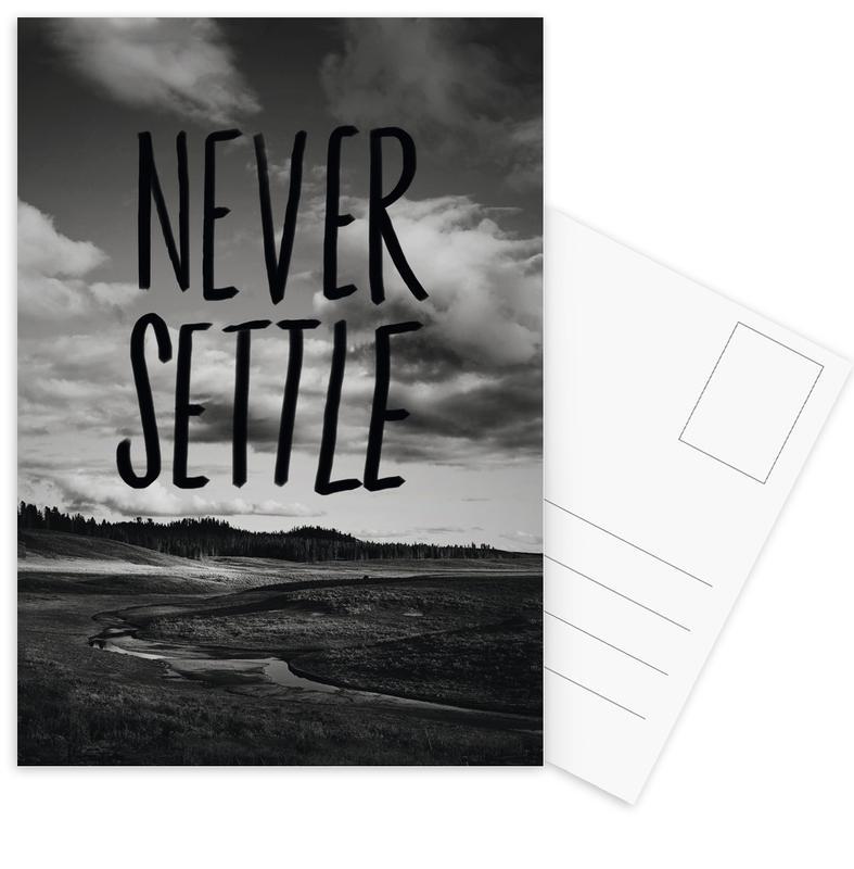 Zwart en wit, Motivatie, Quotes en slogans, Never Settle ansichtkaartenset