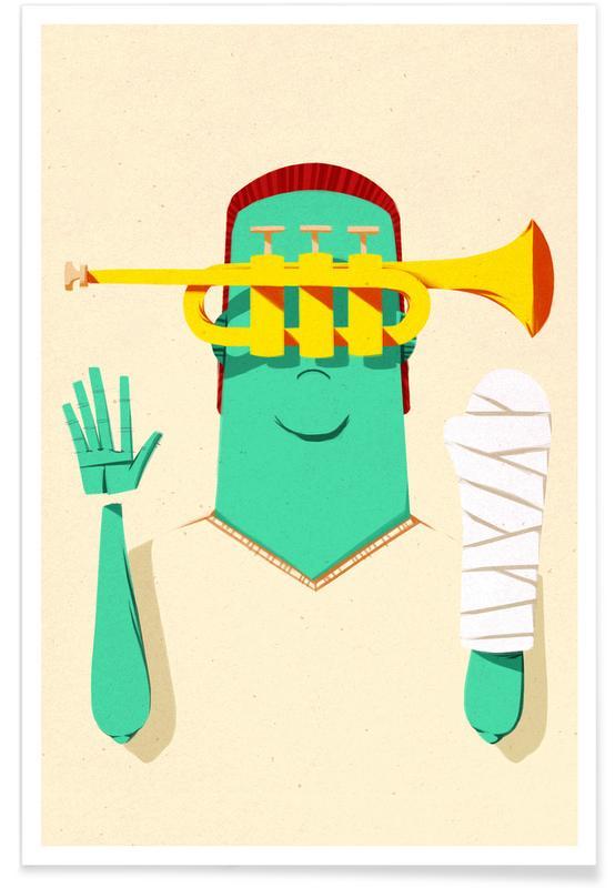 Jazz, Trumpeter Broken Arm Poster