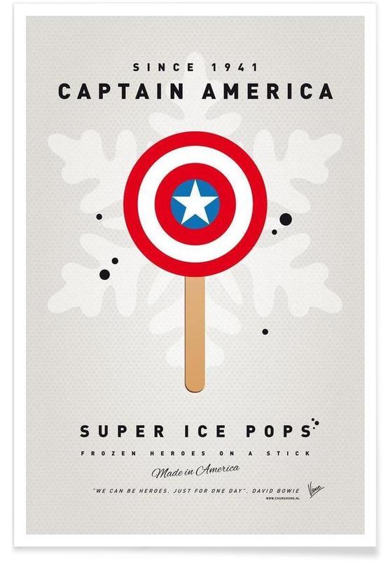 My Superhero Ice Pop - Captain America Poster