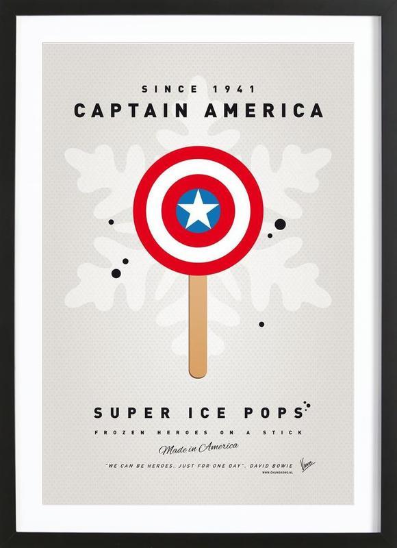 My Superhero Ice Pop - Captain America -Bild mit Holzrahmen