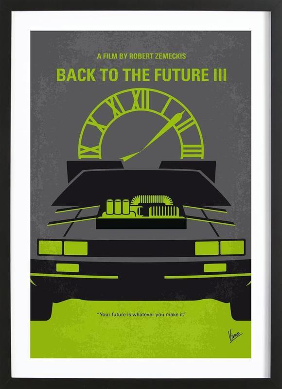 Back to the Future III affiche sous cadre en bois