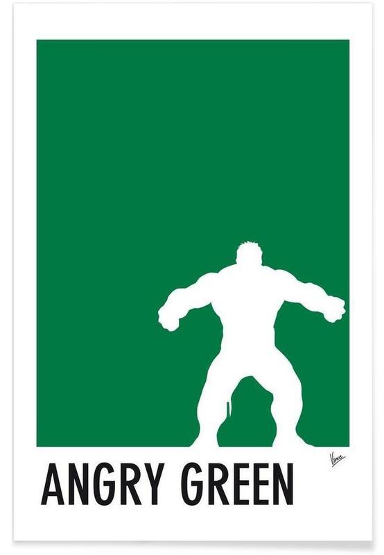 Hulk, My Superhero 01 Angry Green Minimal Poster affiche
