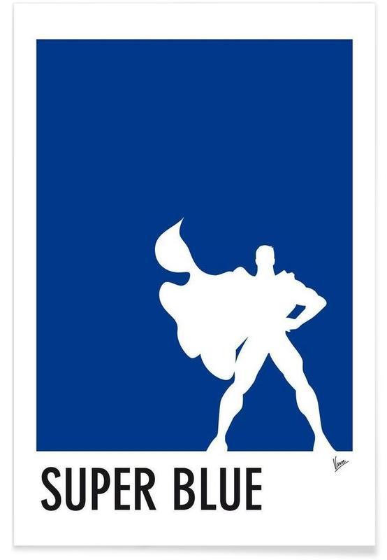 Superman, My Superhero 03 SuperBlue Minimal Poster affiche