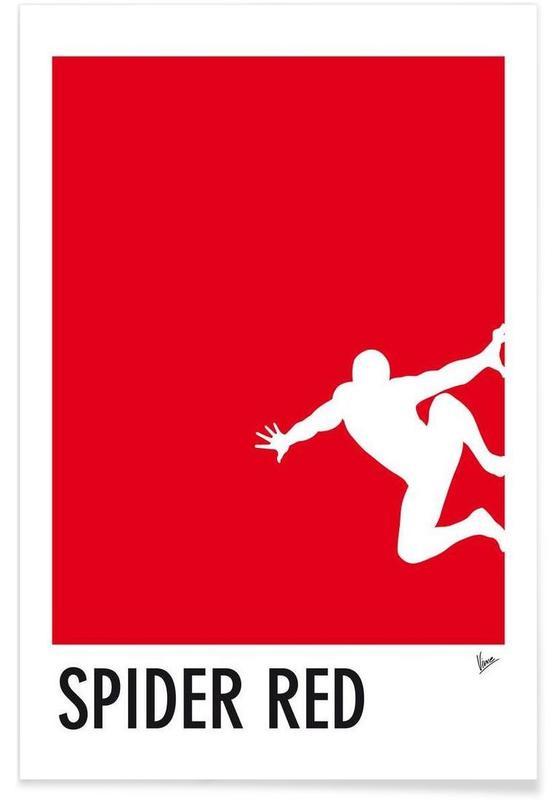 Spider-Man, My Superhero 04 Spider Red Minimal Poster affiche