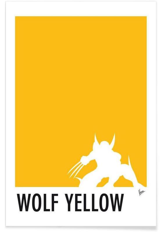 , My Superhero 05 Wolf Yellow Minimal Poster affiche