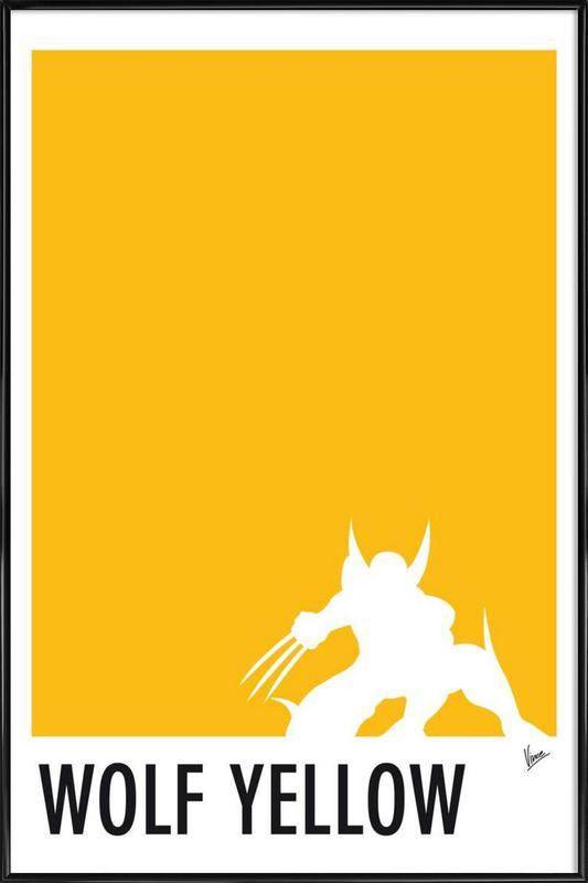 My Superhero 05 Wolf Yellow Minimal Poster Framed Poster