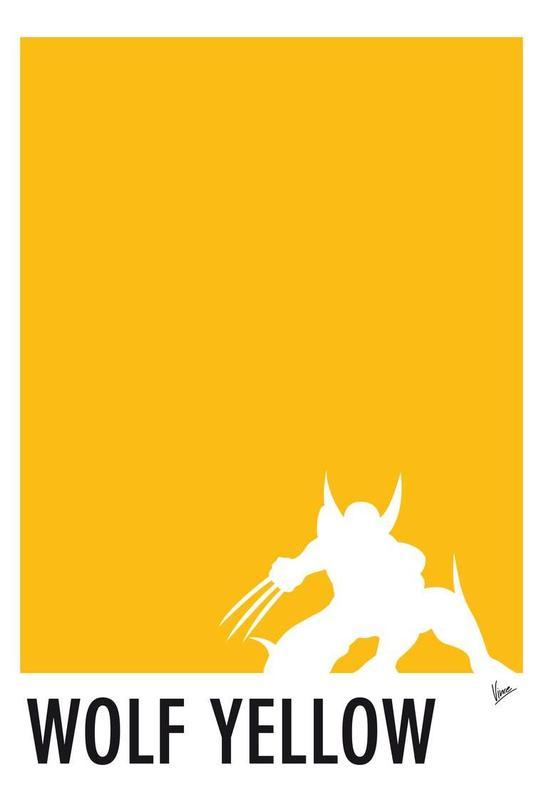 My Superhero 05 Wolf Yellow Minimal Poster Aluminium Print