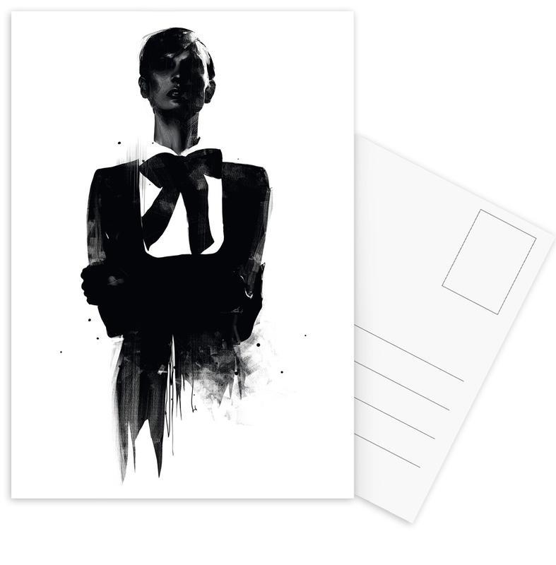 Schwarz & Weiß, Modeillustration, Don't want to be remembered -Postkartenset