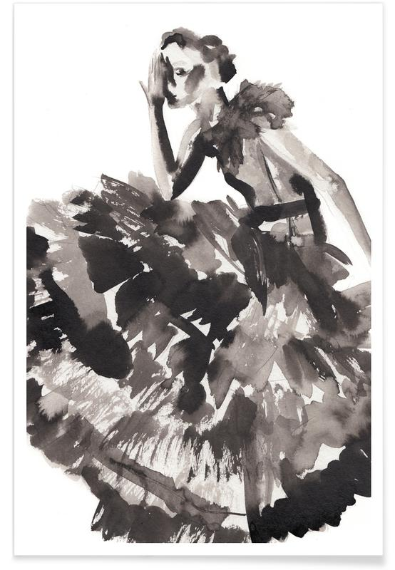Black & White, Fashion Illustrations, She Wears the Gold Hat Poster