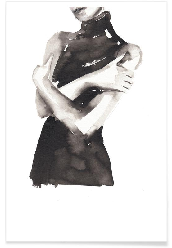 Black & White, Fashion Illustrations, Fingers Crossed Poster
