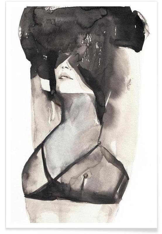 Femme à l'aquarelle affiche