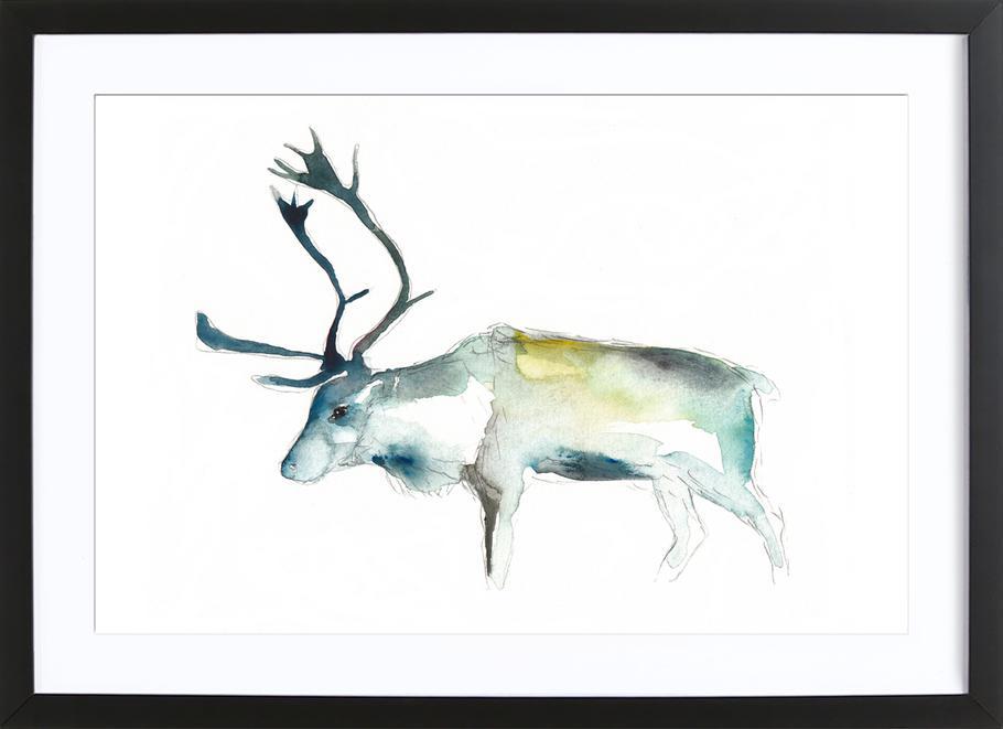 Reindeer 2 -Bild mit Holzrahmen