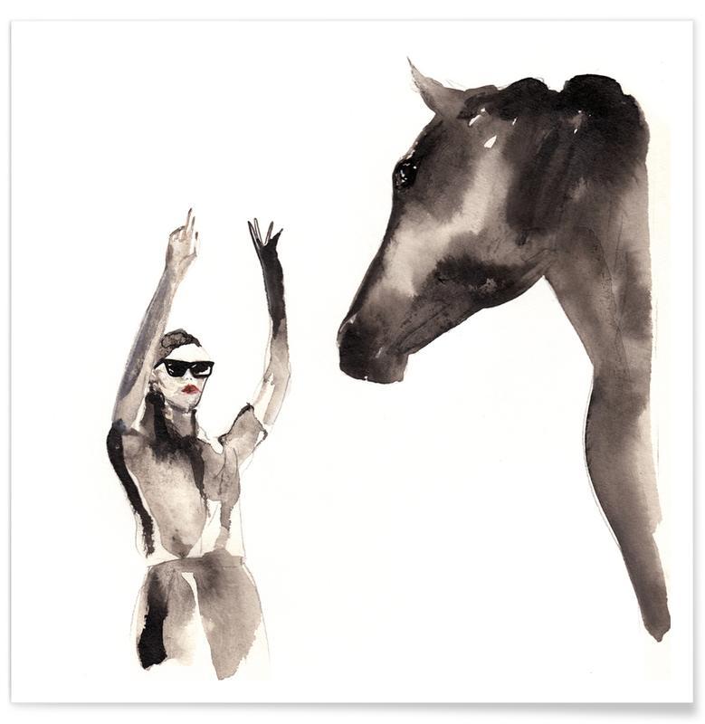 Fashion Illustrations, Black & White, Horses, You've Got Until 4 Poster