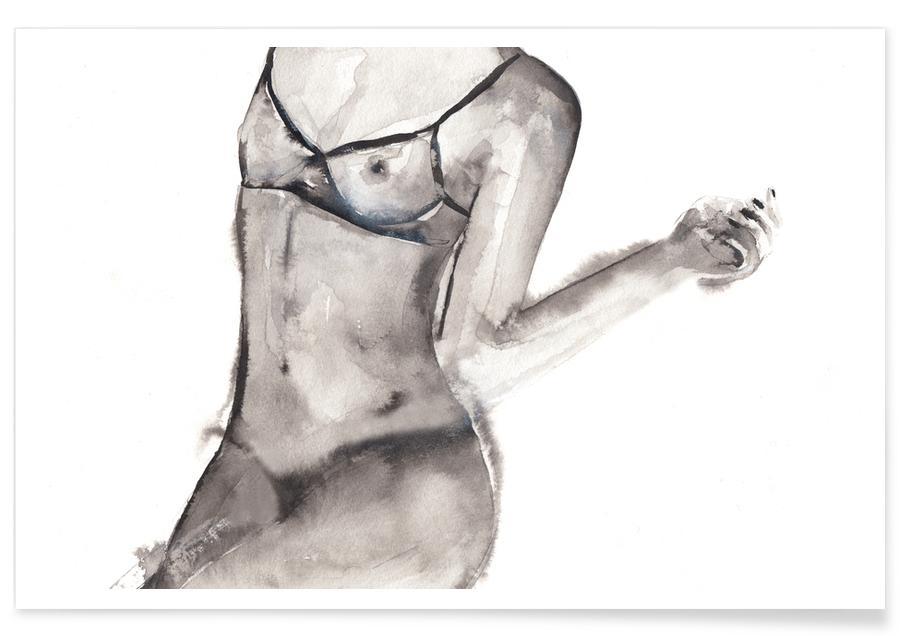 Kropp närbilder, Naken, Svart & vit, Flagged Poster