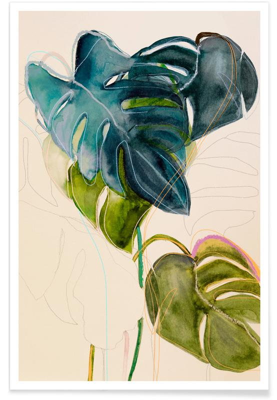 Leaves & Plants, Blue Monstera Poster