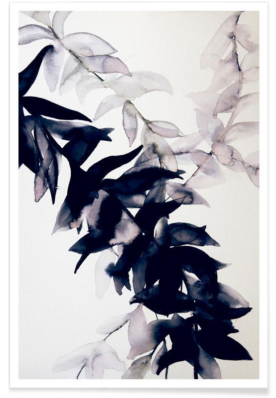 Noir & blanc, Feuilles & Plantes, Falls Tide affiche
