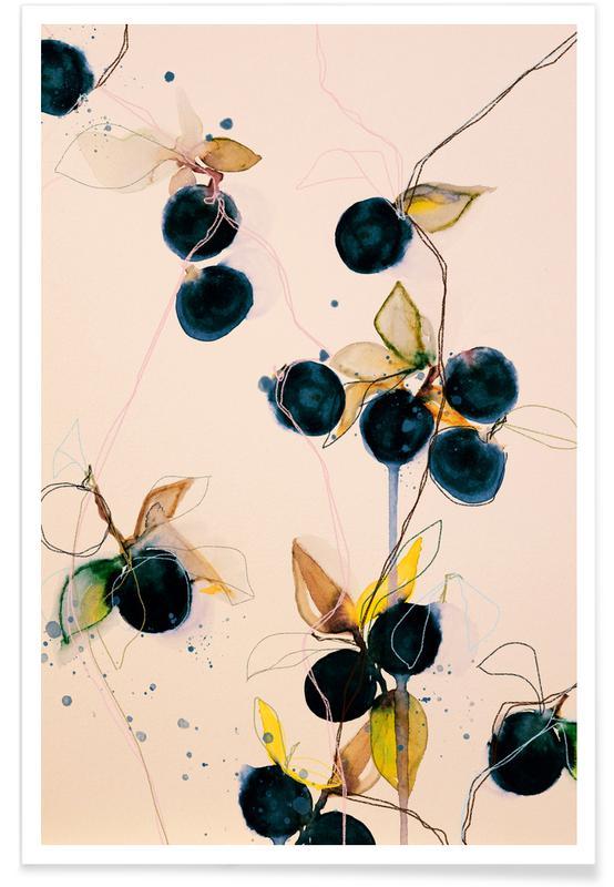 Blade & planter, Bær, Blueberries 01 Plakat