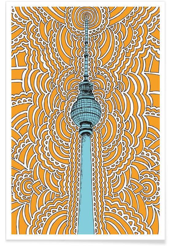 Berlin, Monuments et vues, Fernsehturm Drawing Meditation (orange) affiche