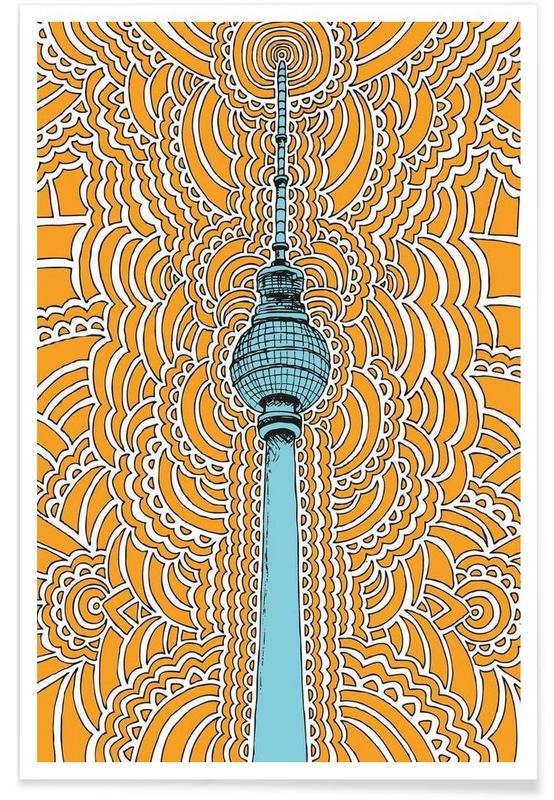 Fernsehturm Drawing Meditation (orange) Poster