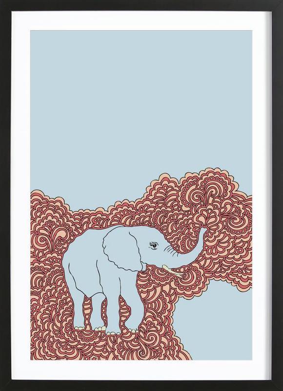 Elephant Blue Framed Print