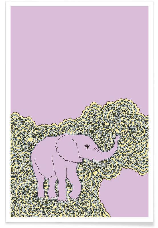 Elefanten, Elephant Purple -Poster