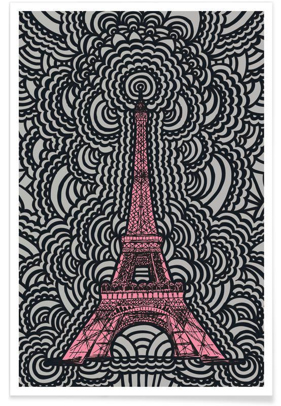 Eiffel Tower Drawing Meditation Pink affiche