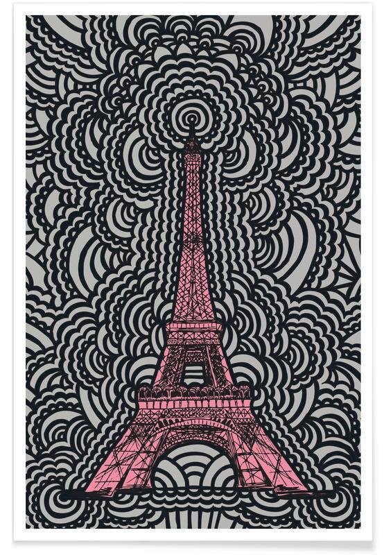Paris, Sehenswürdigkeiten & Wahrzeichen, Eiffel Tower Drawing Meditation Pink -Poster