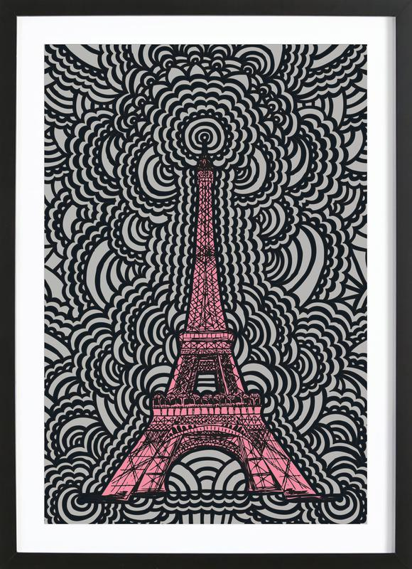 Eiffel Tower Drawing Meditation Pink Framed Print