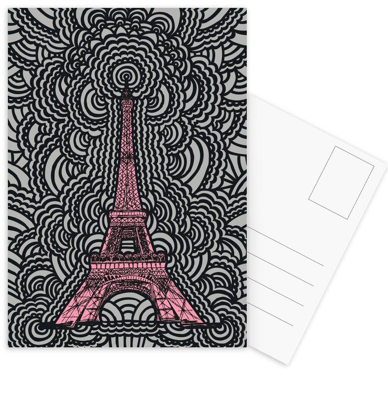Parijs, Bezienswaardigheden en monumenten, Eiffel Tower Drawing Meditation Pink ansichtkaartenset