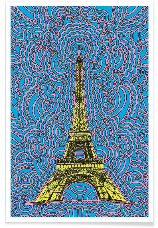 Paris, Sehenswürdigkeiten & Wahrzeichen, Eiffel Tower Drawing Meditation Yellow -Poster