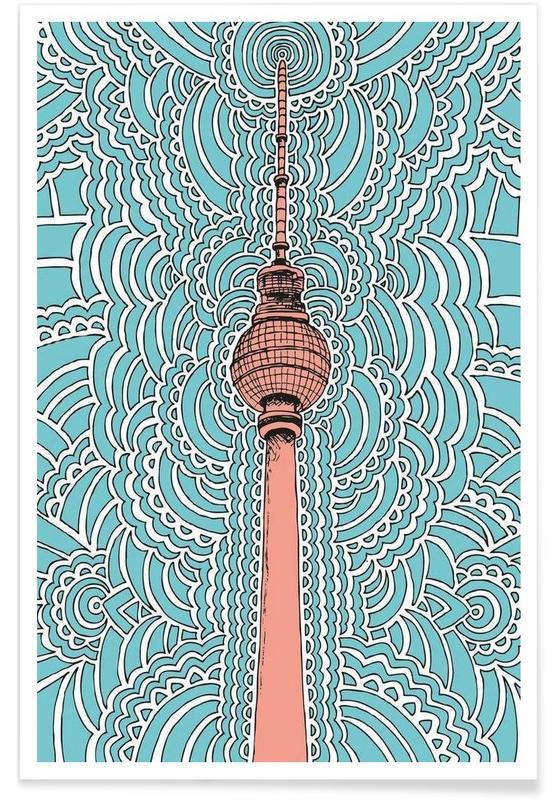 Berlin, Monuments et vues, Fernsehturm Drawing Meditation (blue) affiche