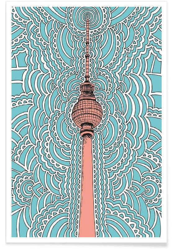 Fernsehturm Drawing Meditation (blue) poster