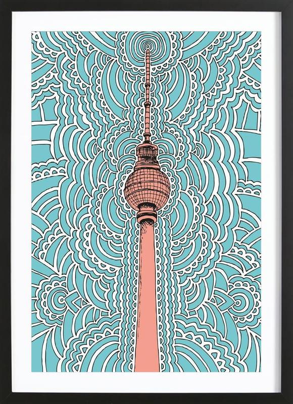 Fernsehturm Drawing Meditation (blue) Framed Print