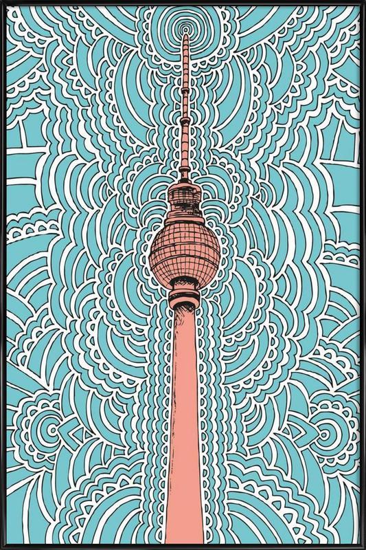 Fernsehturm Drawing Meditation (blue) -Bild mit Kunststoffrahmen