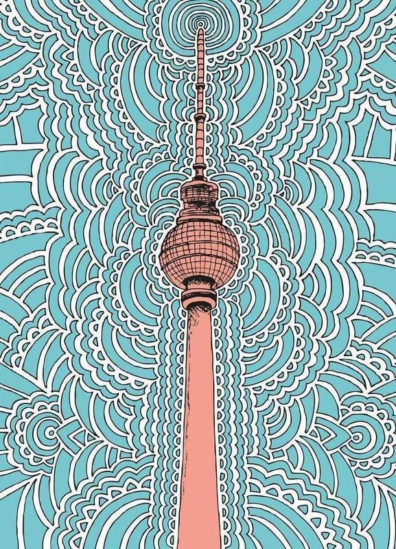Fernsehturm Drawing Meditation (blue) -Leinwandbild