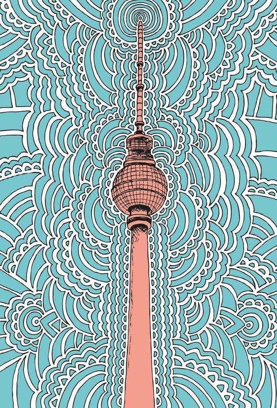 Fernsehturm Drawing Meditation (blue) -Alubild