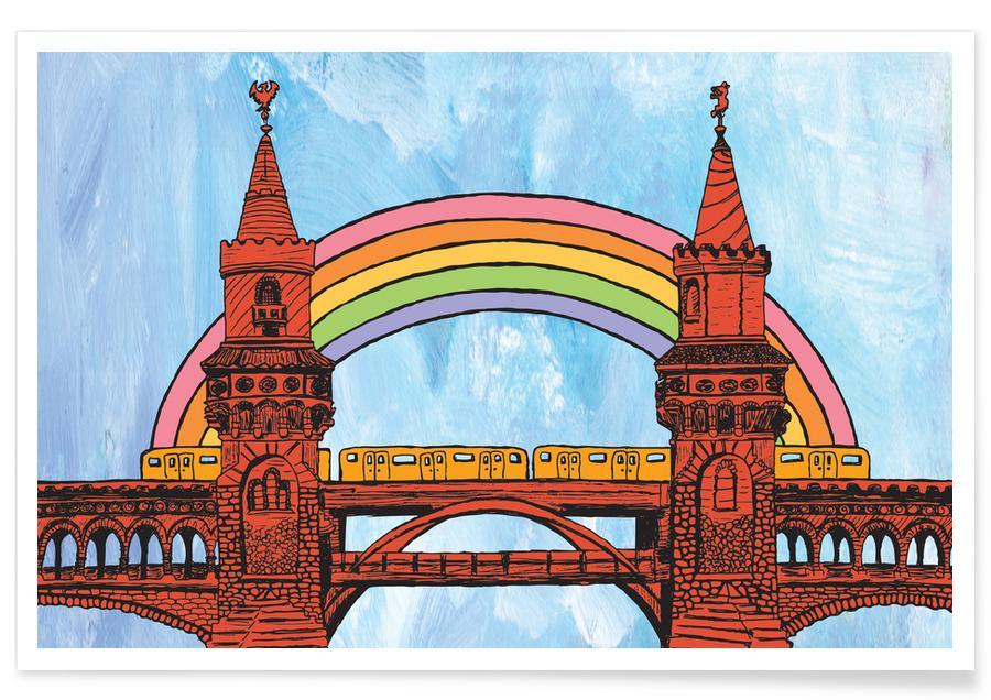 Berlin, Voyages, Rainbow Oberbaumbrücke affiche