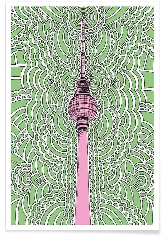 Fernsehturm Drawing Meditation (green) -Poster