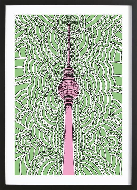Fernsehturm Drawing Meditation (green) Framed Print