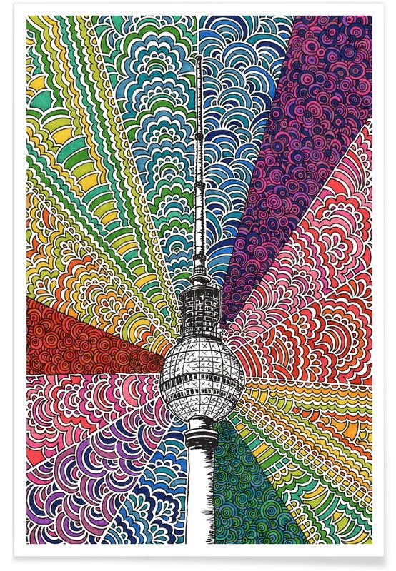 Berlijn, Reizen, Berlin, Bursting With Color poster