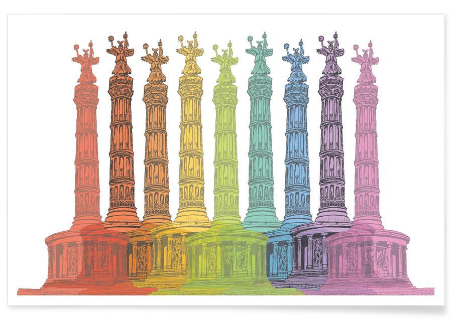 Berlin, Voyages, Colorful Siegessäule affiche