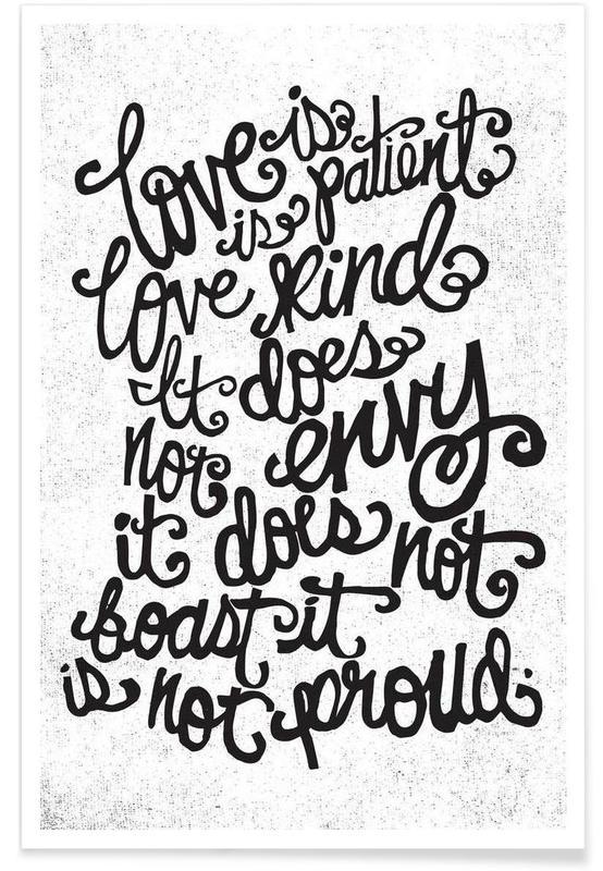 Citations d'amour, Noir & blanc, Citations et slogans, love is patient affiche