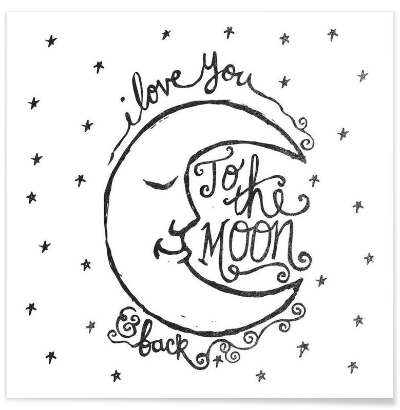 Noir & blanc, i love you to the moon & back affiche