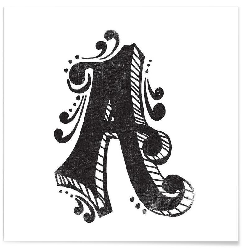 Alphabet et lettres, Noir & blanc, A affiche