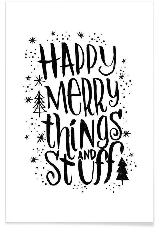 Noël, Noir & blanc, Citations et slogans, Happy Merry affiche