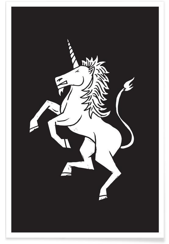 Schwarz & Weiß, Einhörner, Unicorn -Poster