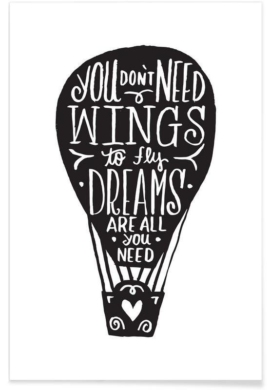 Zwart en wit, Motivatie, Hot Air Balloon poster