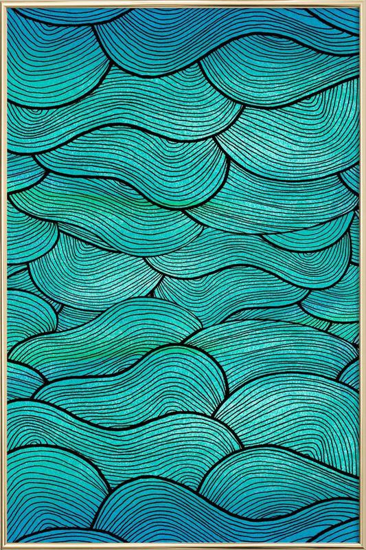 Sea Waves Pattern Poster in Aluminium Frame