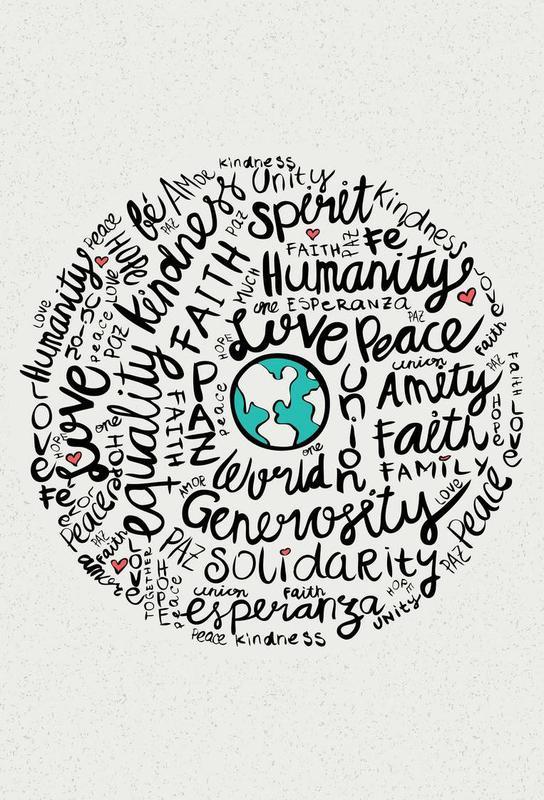World Positive Messages Aluminium Print